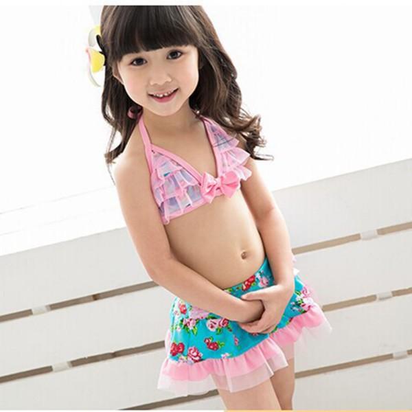 No. SW245 Tankini girl swimwear new girls swimsuit rainbow girl swimwear high quanlity swimsuits with bowknots