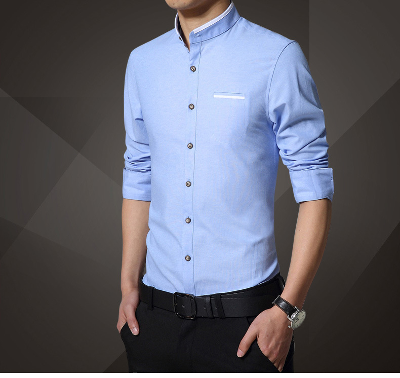 men long sleeves Chinese collar button t-shirt