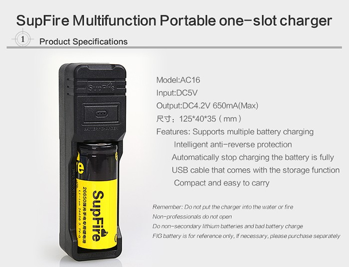 Newest 18650/16340/CR123A/26650 battery USB charger