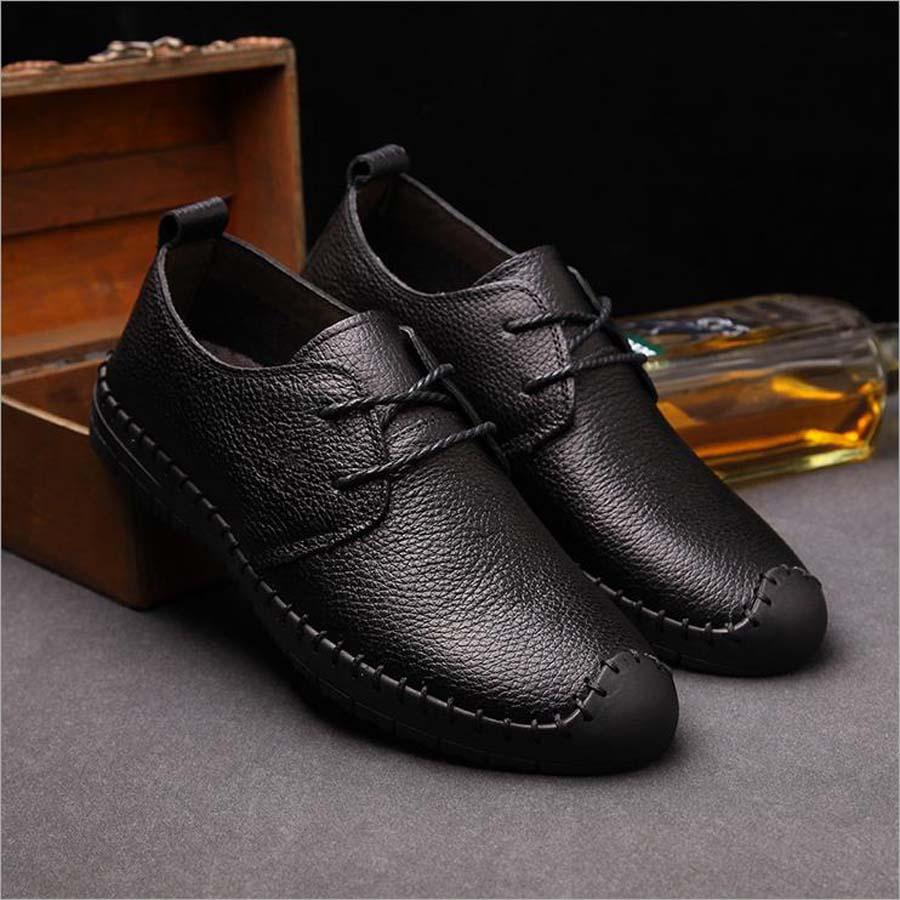 Fashion black dress lace up men casual flat leather shoe