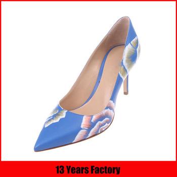 flower printed leather upper rubber sole shoe high heel ladies